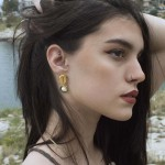 Jt Gold plated bronze seashell earrings  with pearl