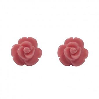 Jt Ασημένια καρφωτά σκουλαρίκια ροζ τριαντάφυλλα