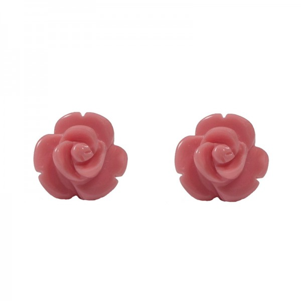 Jt Silver stud pink rose earrings