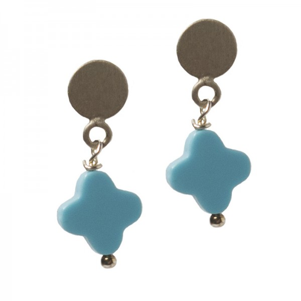 Jt Silver hanging earrings cross turquoise