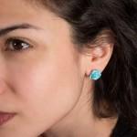 Jt Silver stud turquoise rose earrings