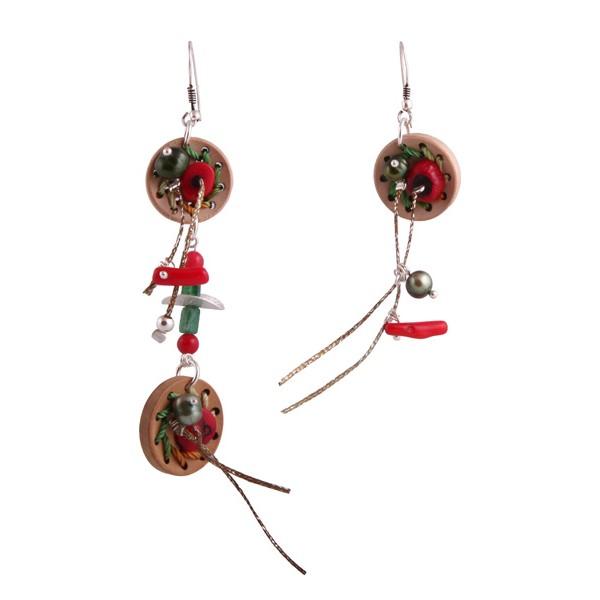 Jt Silver Cork Button Dangle Earrings