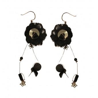 Jt Onyx and Black Lace Silver Dangler Earrings