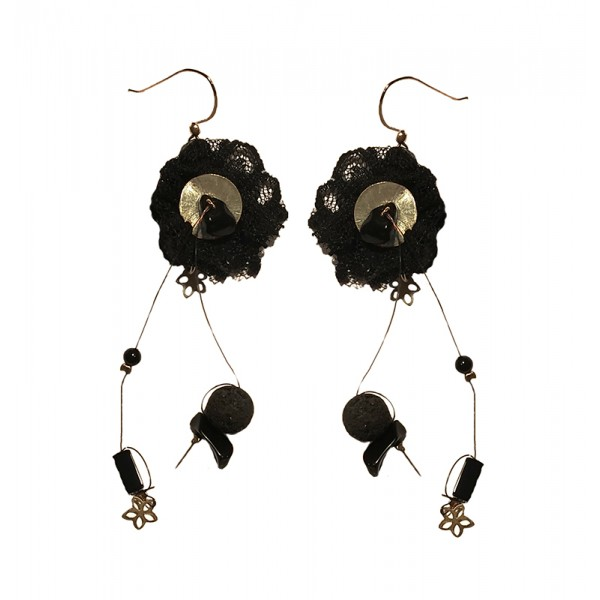 Jt Ασημένια σκουλαρίκια μαύρη δαντέλα, όνυχας και λάβα