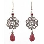 Jt Silver flower drop pink earrings