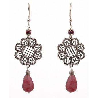 Jt Ασημένια σκουλαρίκια λουλούδι ροζ σταγόνα