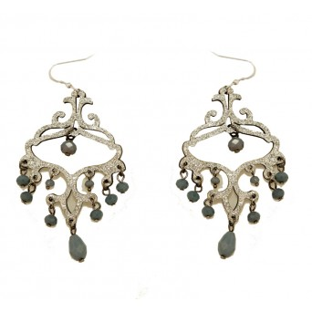 Jt Silver leather and grey crystals silver chandelier earrings