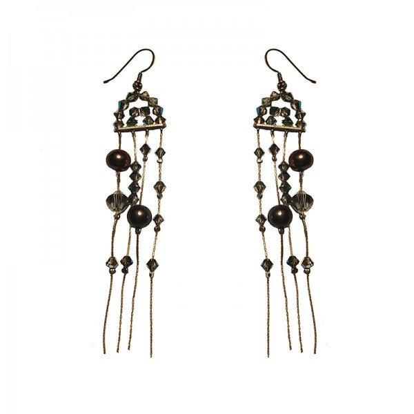 Jτ Rain Dangle Silver Swarovski Earrings