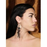 Jt Boho Silver Cluster Earrings with Black Crystals