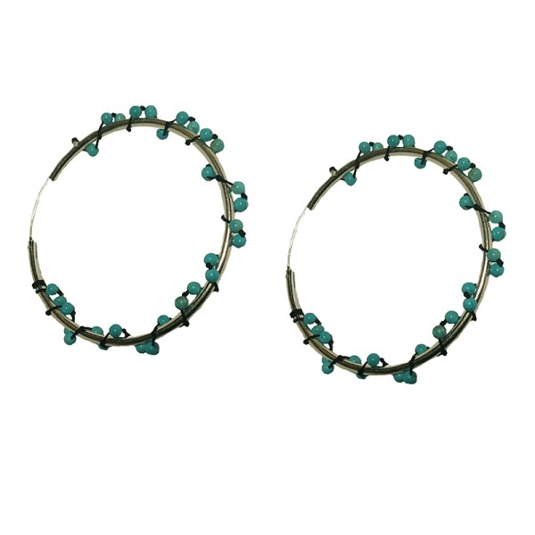 Jt Silver Hoop Earrings with Turquoise