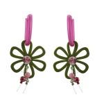 Jt Wooden Flower, Coral and Swarovski Silver Hoop Earrings