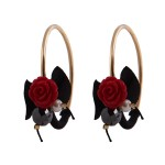 Jt Red Coral Rose Gold Plated Silver Hoops Earrings