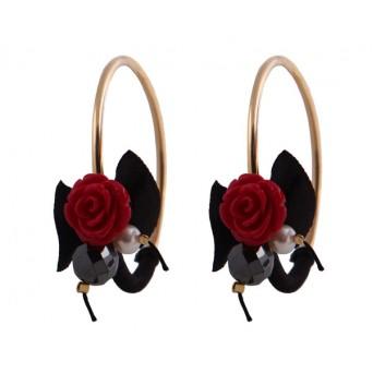 Jt Ασημένιοι κρίκοι κόκκινα τριαντάφυλλα κοράλλι μαργαριτάρι
