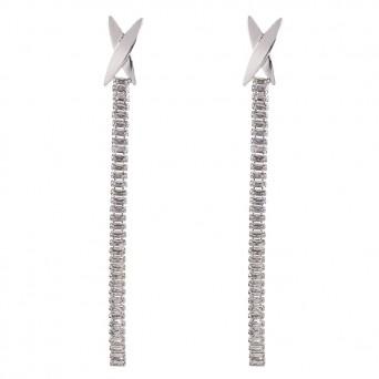 Jt Ατσάλινα σκουλαρίκια ριβιέρα μακριά λευκά ορθογώνια