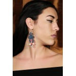 Jt Iinfinity embroidered motif silver hoop earrings