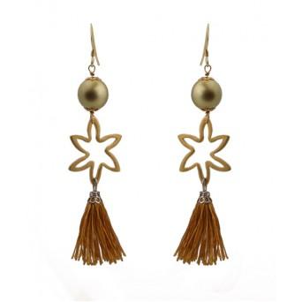 Jt Ασημένια σκουλαρίκια πέρλες με φούντα