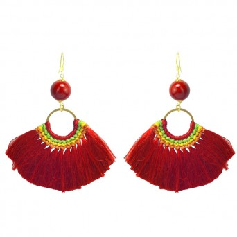 Jt Gold Plated Silver Silk Red Tassels Boho Earrings