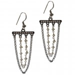 Jt Silver hanging boho earrings with pearls
