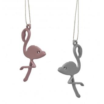 Jt Silver Drop Pink Flamingo Earrings