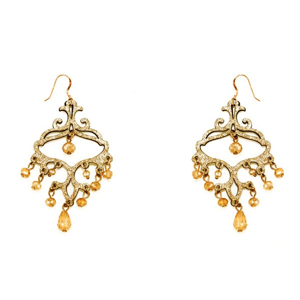 Jt  Gold leather and brown crystals silver chandelier earrings
