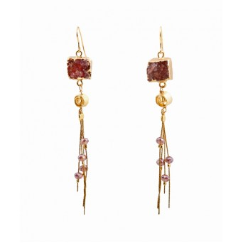 Jt  Red Cube Agates Silver Cluster Earrings