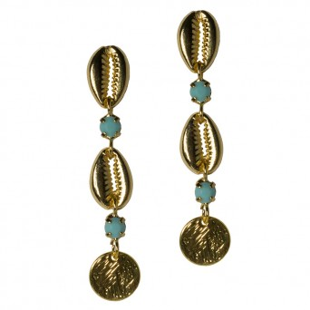 Jt Gold plated bronze seashell earrings  with blue crystals
