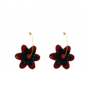 Jt Gold Plated Silver Red Leather Flowers Hoops Earrings