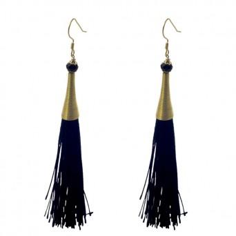 Jt Silver Boho Chandelier Black Tassel Earrings