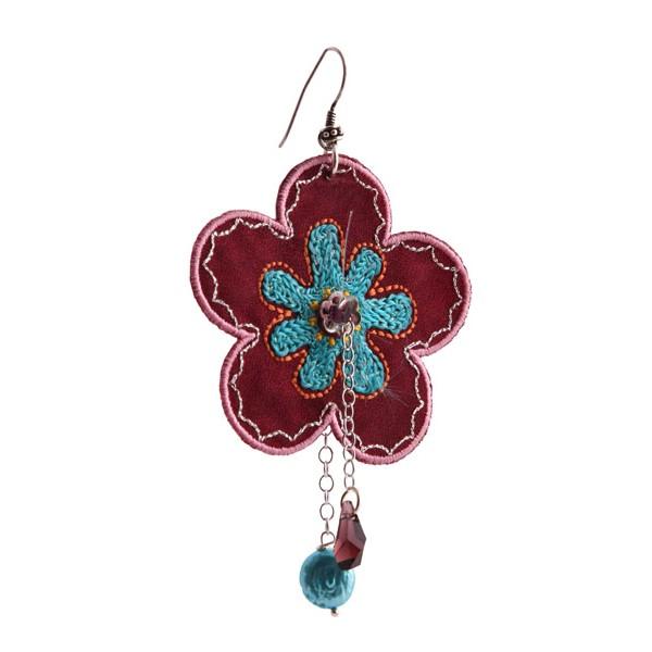 Jt Silver Single Black Flower Dangle Earrings