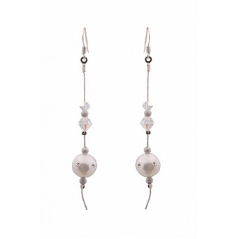 Jt White pearl and Swarovski silver chain hook earrings