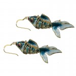 Jt Gold plated silver hook with cloisonné fish and enamel