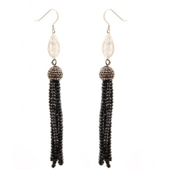 Jt  Black Crystals Tassel Silver Cluster Earrings