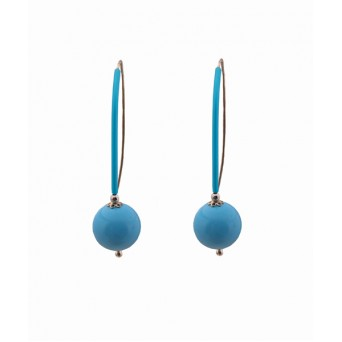 Jt  Turquoise Silver Hook Earrings