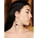Jt Golden Dragon Carved Onyx Dangle Silver Earrings
