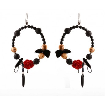 Jt Silver Red Coral Flower Hoop Earrings