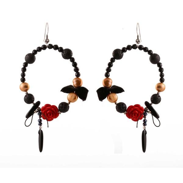 Jt Silver Red Coral Flower Hoop Earrings