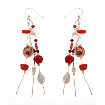 Jt Silver Red Coral  Flowers Cluster Earrings