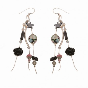 Jt Black Onyx Flower Silver Cluster Earrings