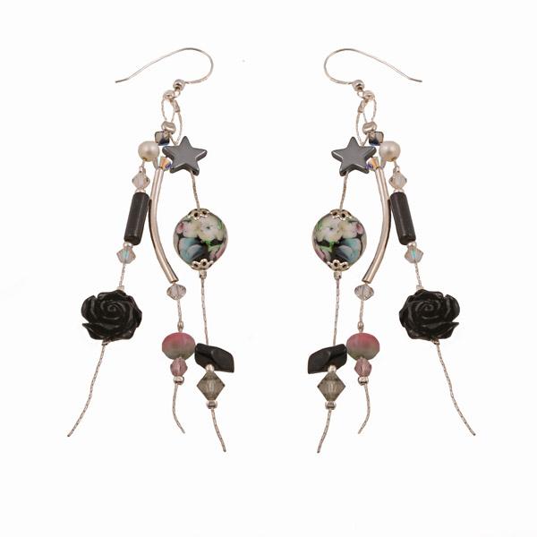 Jt Black Onyx Flower Silver Cluster Earrings