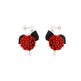 Jt Silver Red Coral Rose Flower Earrings