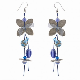 Jt Blue Agate and Lapis Lazouli Silver Cluster Earrings