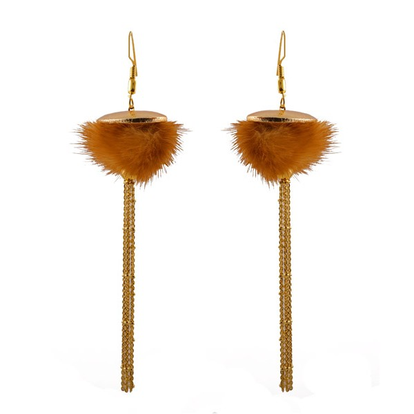 Jt Synthetic Fur Dangle Tassel Chain Silver Earrings