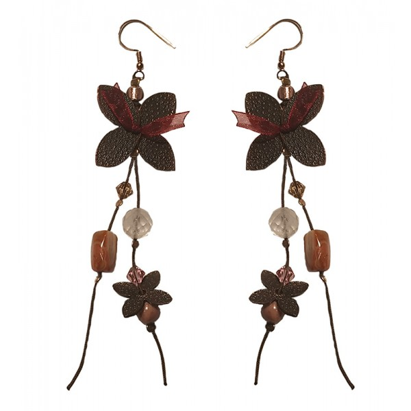 Jt Bronze Butterfly Silver Cluster Earrings