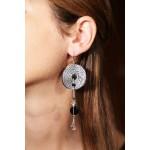 Jt Onyx and Swarovski Target Silver Dangler Earrings