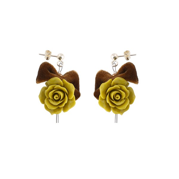 Jt  Green Opal Rose Flower Silver Earrings