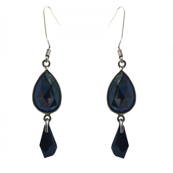 Jt Silver Hematite & Swarovski Drop Earrings