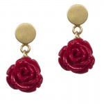 Jt Gold Plated Silver Red Rose Stud Earrings