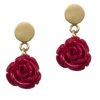 Jt Ασημένια χρυσά καρφωτά σκουλαρίκια κόκκινα τριαντάφυλλα