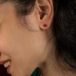 Jt Ασημένια μονόπετρα σκουλαρίκια κόκκινα ζιργκόν 4mm