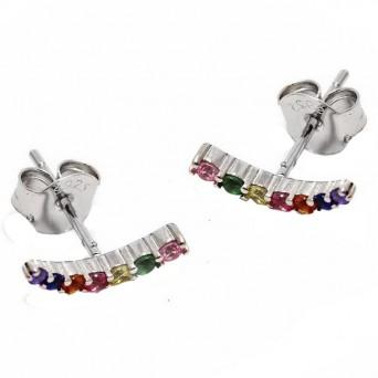 Jt Ασημένια σκουλαρίκια μπάρα καμπυλωτή πολύχρωμα ζιργκόν
